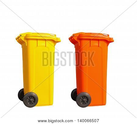 Isolated yellow and orange garbage bin on white with clipping path