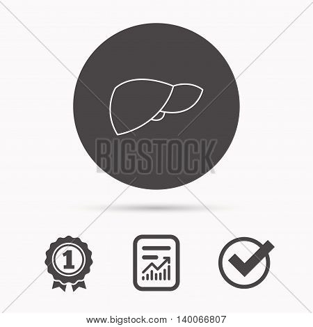 Liver icon. Transplantation organ sign. Medical hepathology symbol. Report document, winner award and tick. Round circle button with icon. Vector