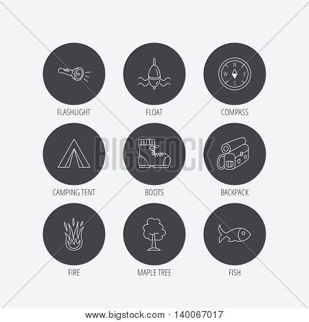 Maple tree, fishing float and hiking boots icons. Compass, flashlight and fire linear signs. Camping tent, fish and backpack icons. Linear icons in circle buttons. Flat web symbols. Vector