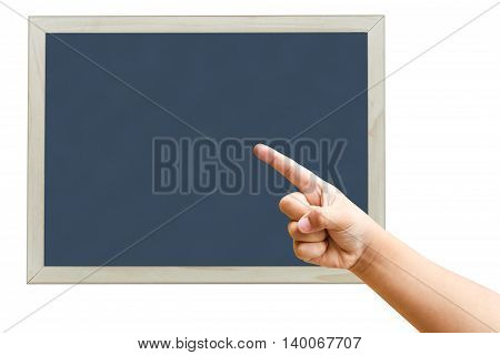 Child Hand Pointing On A Blank Blackboard