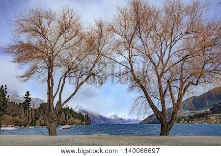 scenic of lake wakatipu important traveling destination in queentown south island new zealand