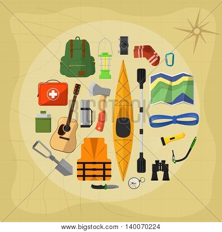 Camping and hiking symbols and hiking icons set. Equipment for hiking and camping. Outdoor camping and hiking concept flat vector illustration. Vector icons of outdoor adventure and camping or hiking life. Outdoor tourism equipment. Camping icon set. Hike