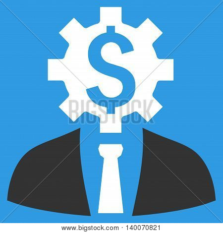 Office Worker vector icon. Style is flat symbol, white color, blue background.