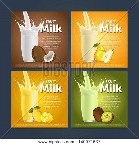 Banners of fruit milkshake dessert cocktail glass fresh drink in cartoon vector illustration. Fruit milk splash. Milk cocktail dessert. Delicious drink. Glass of fruit milkshake. Sweet milk drink. Milk splash in a glass. Milkshake.