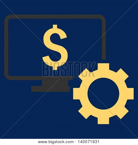Financial Monitoring Options vector icon. Style is flat symbol, yellow color, blue background.