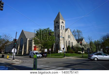 LA GRANGE, ILLINOIS / UNITED STATES - APRIL 23, 2016: The First Congregational Church of La Grange offers worship services in downtown La Grange.