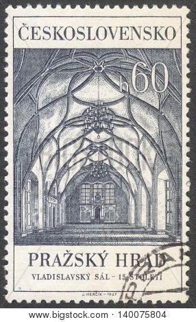 MOSCOW RUSSIA - CIRCA FEBRUARY 2016: a post stamp printed in CZECHOSLOVAKIA shows the St. Wenceslas' Hall the series