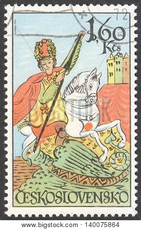 MOSCOW RUSSIA - CIRCA FEBRUARY 2016: a post stamp printed in CZECHOSLOVAKIA shows St. George the series