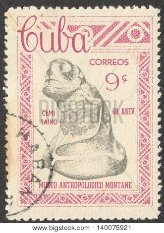 MOSCOW RUSSIA - CIRCA FEBRUARY 2016: a post stamp printed in CUBA shows an archaeological artifact the series