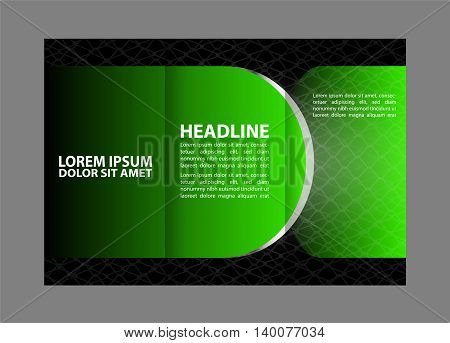 Vector red and black tri-fold brochure design template with abstract geometric background EPS10 Tri-Fold Mock up & back Brochure Design
