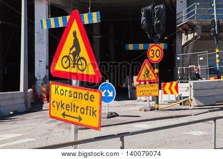 Warning Roadsigns Along Urban Road. Sweden