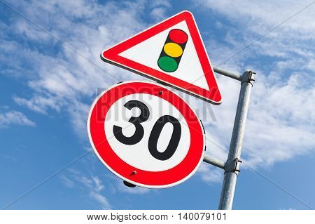Traffic Lights And Speed Limit 30 Km Per Hour