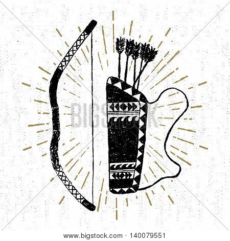 Hand drawn tribal icon with a textured bow and quiver vector illustration.