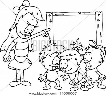 Monochromatic drawing of a teacher with three children discussing at the board.