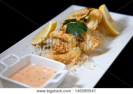Seafood calamari or squid crispy fried on plate