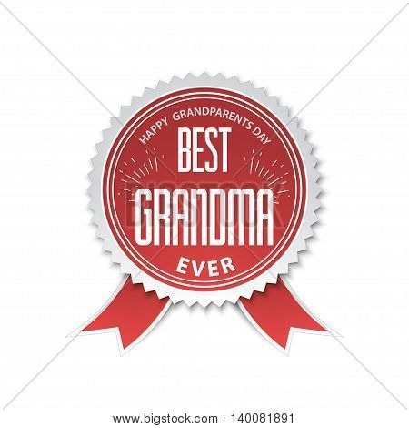 The best grandma - badge with ribbon. vector illustration Happy grandparents day.