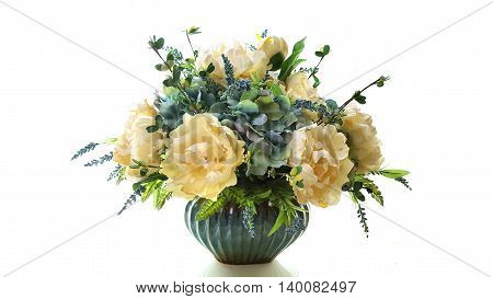 Artificial colorful flowers in flowerpot, white background