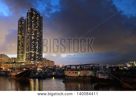 Hong Kong beautiful sunset Shau Kei Wan Typhoon Shelter