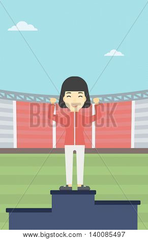 An asian young sportswoman celebrating on the winners podium. Sportswoman standing on the first place on the winners podium with raised hands. Vector flat design illustration. Vertical layout.