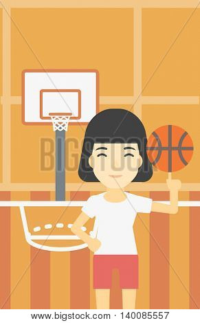 An asian sportswoman spinning basketball ball on her finger. Young professional basketball player standing on the basketball court. Vector flat design illustration. Vertical layout.