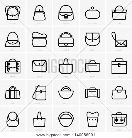 Set of many different bag icons on light grey