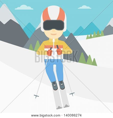 An asian sportsman skiing on the background of snow capped mountain. Skier skiing downhill in mountains. Male skier on downhill slope. Vector flat design illustration. Square layout.