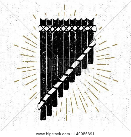 Hand drawn tribal icon with a textured pan flute vector illustration.