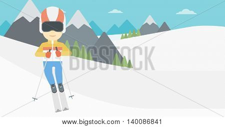An asian sportsman skiing on the background of snow capped mountain. Skier skiing downhill in mountains. Male skier on downhill slope. Vector flat design illustration. Horizontal layout.