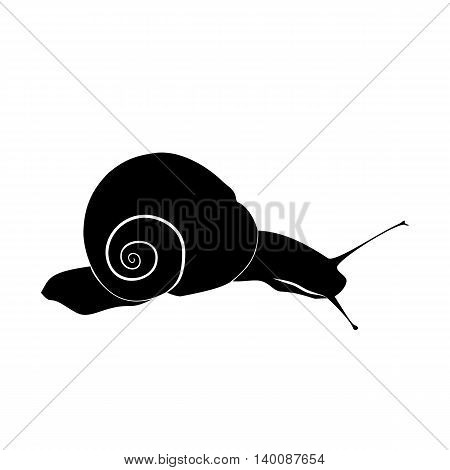 Abstract illustration, black and white silhouette of snail. The snail on slope. White background.