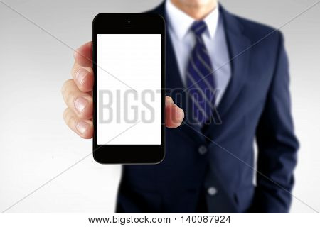 Man showing information on a blank smart phone