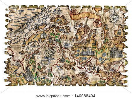 Colorful pirate map with fantasy lands and treasures