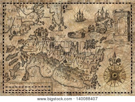 Old pirate map with island of treasures. Hand drawn watercolor illustration, desaturated and textured.
