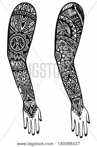 Maori style tattoo design. Tattoo hand with ornaments