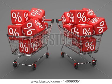 2 Shopping Carts Red Percent Cubes