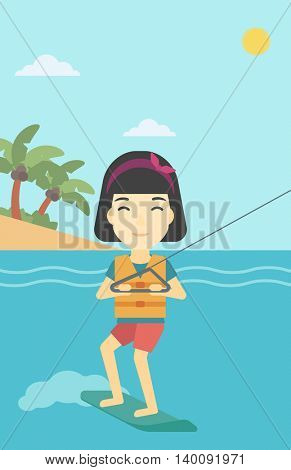 An asian sports woman wakeboarding on the sea. Wakeboarder making tricks. Woman studying wakeboarding. Young woman riding wakeboard. Vector flat design illustration. Vertical layout.