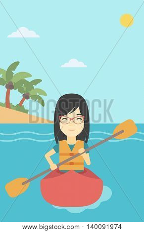 An asian sports woman riding in a kayak in the sea. Young woman traveling by kayak. Female kayaker paddling. Woman paddling a canoe. Vector flat design illustration. Vertical layout.