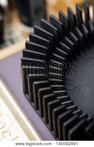 closeup details of old heatsink, computer parts