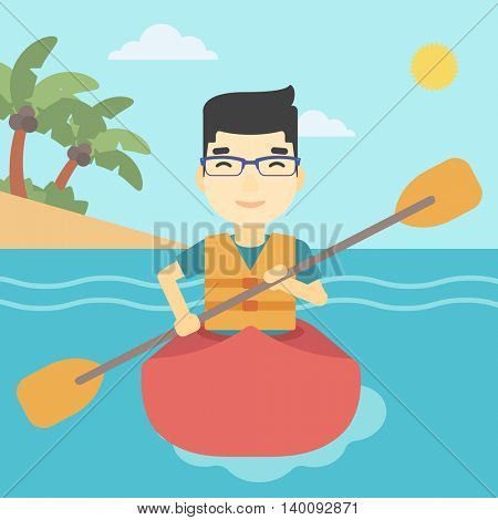 An asian sportsman riding in a kayak in the sea. Young man traveling by kayak. Male kayaker paddling. Man paddling a canoe. Vector flat design illustration. Square layout.