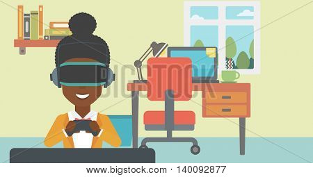 An african-american woman wearing a virtual reality headset. Smiling woman playing video games with a wireless game controller in hands. Vector flat design illustration. Horizontal layout.