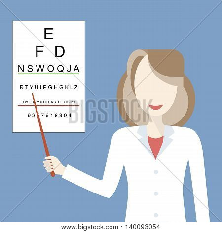 Optometrist examines a patient using a table for testing visual acuity. Doctor woman ophthalmologist smiling. Medicine and eye health concept. Vector illustration flat design