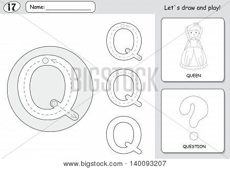 Cartoon Queen And Question. Alphabet Tracing Worksheet: Writing A-z And Educational Game For Kids
