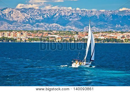 Sailing in Zadar waterfront summer view Dalmatia Croatia