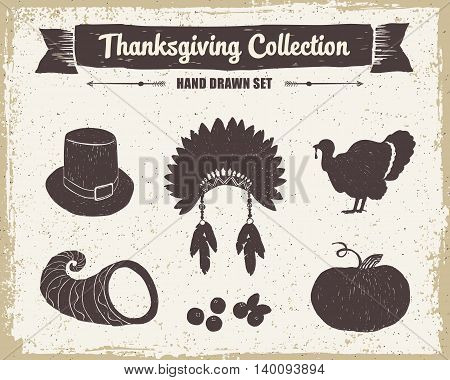 Hand drawn textured vintage Thanksgiving set of pilgrim hat Indian head piece turkey cornucopia cranberries and pumpkin vector illustrations.