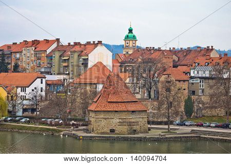 Town of Maribor riverfront winter view Slovenia