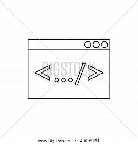 Greater than less than icon in outline style on a white background