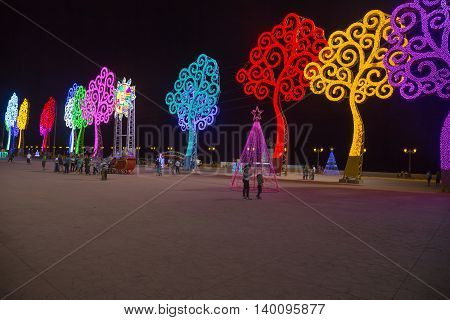 Managua Nicaragua - December 22 2015: Arboles de la vida at night. Trees of live it's a government mark