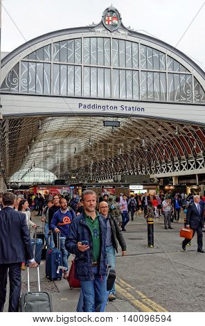 LONDON UK - JULY 1 2014: Paddington train station one of London's busiest and most important rail transport hubs.