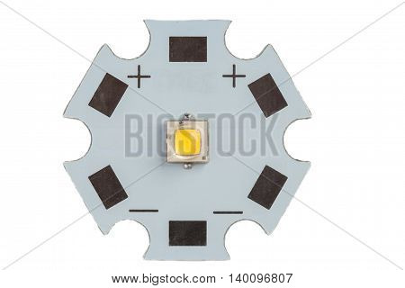 High power warm white smd LED on aluminum star circuit isolated on white.
