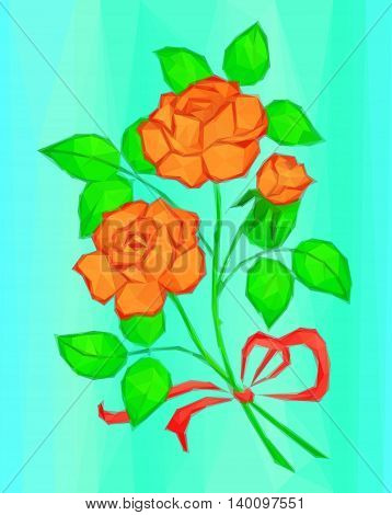 Holiday Background, Flowers, Red and Orange Rose Bouquet with Green Leaves and Red Bow, Love Symbol, Low Poly Illustration. Vector
