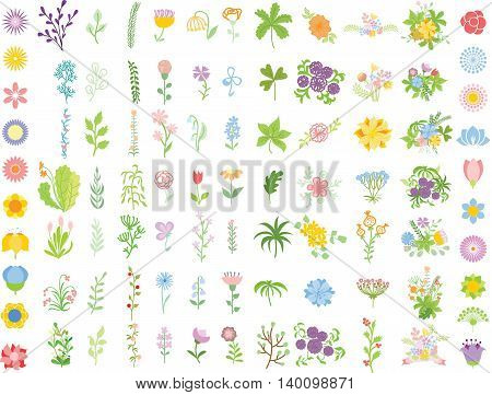 Set of floral wedding graphic set - flowers, arrows, hearts, laurel, ribbons depicting an award achievement heraldry nobility, hand drawing vector illustration
